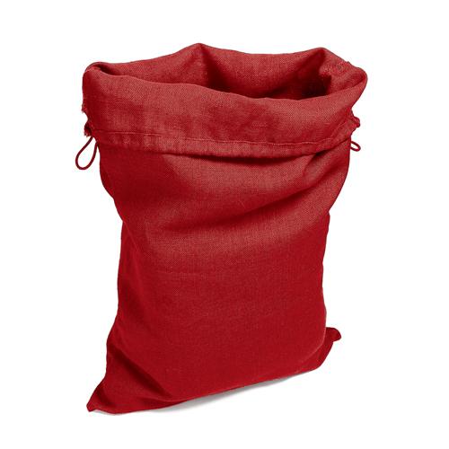 Grand sac en toile deco, rangement linge jouets, couleur rouge uni